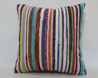 20x20 Boho Pillow Sofa Pillow Decorative Kilim Pillow 20x20 Multicolor Kilim Pillow Multi Striped Kilim Pillow Cushion Cover  SP5050-2054