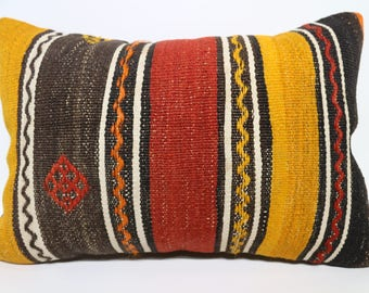 Ethnic Pillow Turkish Kilim Pillow Cushion Cover Throw Pillow Sofa Pillow Sofa Pillow Multicolor Pillow 16x24 Lumbar Kilim Pillow SP4060-911