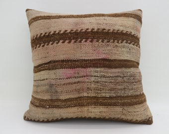 Brown Pillow Bohemian Cushion Cover Pillow fawn-colored Pillow 20x20 Large Turkish Kilim Pillow Striped Pillow  Kilim Pillow  SP5050-2733