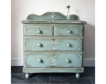 Antique Victorian Painted Folk Bohemian Chest Of Drawers