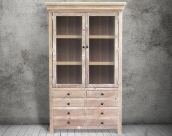 China Cabinet, Display Cabinet, Hutch, Reclaimed Wood, Bookcase, Handmade,  Rustic