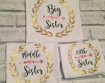 Big Sister middle sister little Sister T shirts
