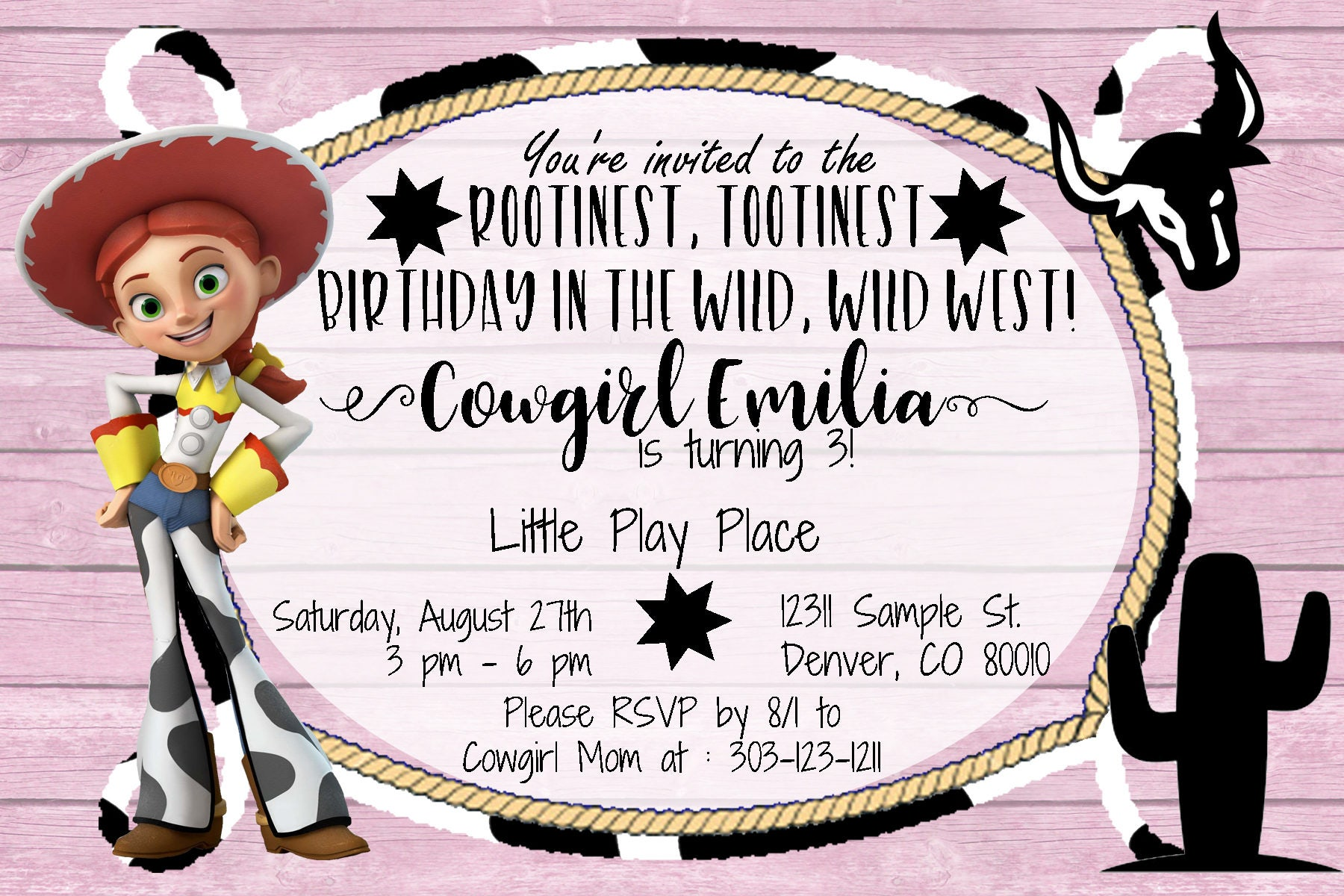 Cowgirl Jesse from Toy Story - Party Invitation - Western theme ...