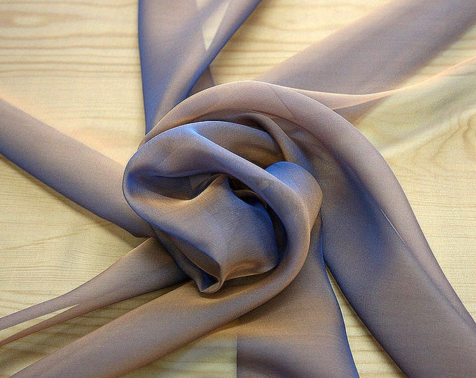 221145-Mouseline natural Silk Cangiante 100%, width 135/140 cm, chiffon litmus, made in Italy, dry washing, weight 35 gr