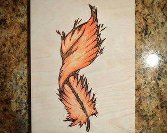 Phoenix Feather (5'x7' woodburning / watercolor)
