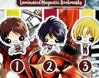 Attack on Titan magnetic bookmark, Titan bookmark, laminated bookmark, Mikasa bookmark, magnetic bookmark, anime, manga