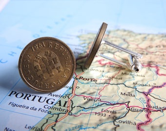 Portugal coin cufflinks - 3 different designs -  made of original coins from Portugal - wanderlust - travelgift - travel