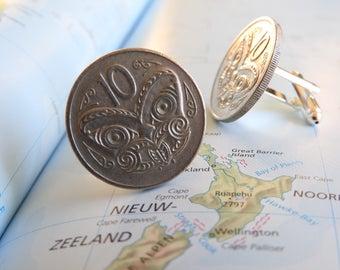 New Zealand coin cufflinks - 3 different designs - made of original coins from New Zealand - maori - lizard