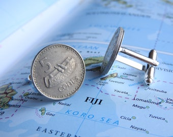 Fiji coin cufflinks - 6 different designs - made of original coins canoe - queen - rose- travelgift - fathers day