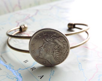 Brazil coin cuff bracelet - 3 different designs - made of original coins from Brasil - South America - wedding gift - travel