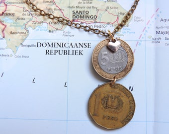 Dominican Republic coin necklace/keychain - 2 different designs - made of original coins - island - wedding gift
