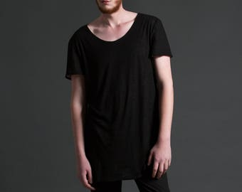 Men's Oversized Elongated Tunic T Shirt with Wide Scoop Neck / Reversible Black and White Minimal Tee