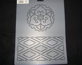 Sashiko Old Style Japanese Quilting/Embroidery Stencil Flower and Diamonds 9 in. by 12 in. Block /Quilting/48