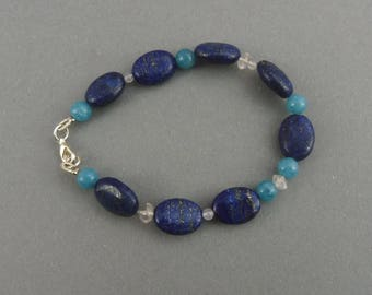"Lapis Lazuli Bracelet with Blue- and Rosequartz - ""Little Lagoon"""