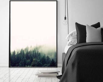 Forest Photography Print, Forest in the fog Art Print,Digital  Nature Wall Art, Trees in the fog