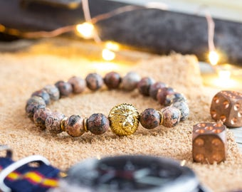 8mm - Mens bracelet, Leopard skin beaded stretchy bracelet with gold Lion, lion bracelet, natural stone bracelet, mens bead bracelet