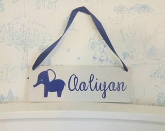 Wooden Sign, Bedroom Door Sign, Baby Wooden Sign, Nursery Sign, Wooden Baby Sign, Elephant Sign, Elephant Door Sign, Elephant Nursery Decor