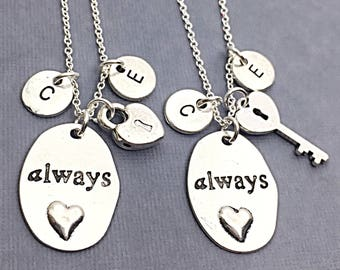 Matching Necklace Set of Two, Couple's Necklace Set, Always, Couple's Jewelry, Matching, Custom, Initial Necklace, Key and Lock Necklaces