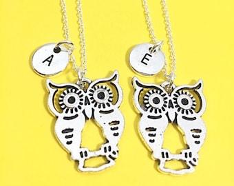 2 Best friend necklace, Owls, personalized friendship necklace, best friend owl necklace, 2 bff necklace, bff jewelry, owl charm necklaces