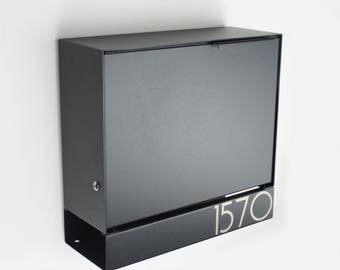New model! Black large Modern mailbox - Locking - engraved - MB1414b