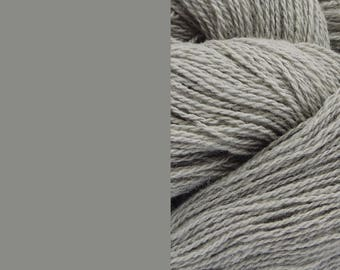 Wool Yarn, grey, fingering 2-ply 8/2 worsted pure wool 100g/350m