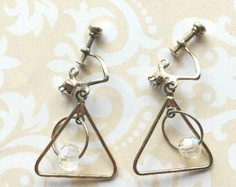 Vintage, Screw-back, Trangle Dangle Earrings