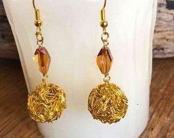 Gold Borball Earrings, Gold Festive Earrings, Festive Earrings