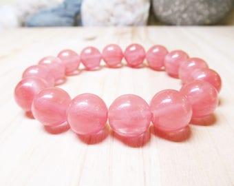 Cherry Quartz Bracelet Gemstone Bracelet Fertility Bracelet Pregnancy Bracelet Healing Bracelet Heart Chakra Bracelet 12mm Cherry Quartz
