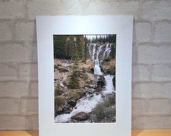 Tangle Creek falls, Tangle Falls Jasper, Canadian Waterfall Mounted Print A3 A4 A5