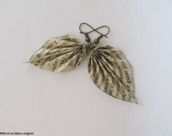 Origami earrings, leaf jewelry origami paper writing, romantic jewelry
