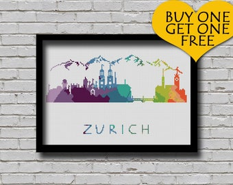 Cross Stitch Pattern Zurich Bern Switzerland Silhouette Watercolor Effect Europe Cities Modern Design Embroidery City Skyline Xstitch