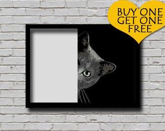 Cross Stitch Pattern Peek A Cat Printable Peeking Animal Digital Pattern Modern Decor Cat Xstitch Hidden Cute Sneaky Black Smoke Cat