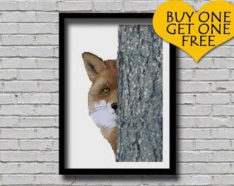 Cross Stitch Pattern Peek A Fox Printable Peeking Wildlife Animal Digital Pattern Modern Decor Red Fox Xstitch Pattern Hidden Cute Fox