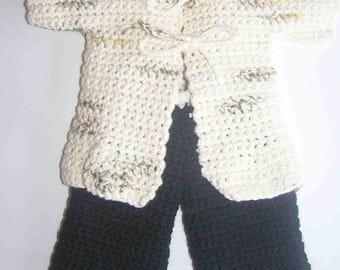 Set for doll/doll 36/38 cm knitted mottled tunic, hand cream, black pants