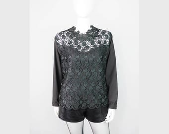 Dark green vintage blouse with lace 38