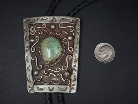 """Hand-Stamped Sterling Silver Navajo Turquoise Vintage Bolo Tie 35"""" Leather M354"""