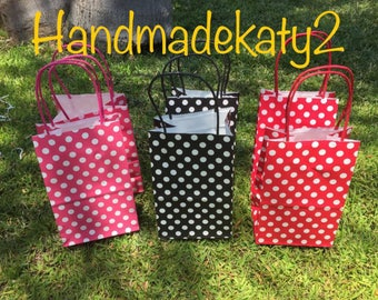 Minnie Mouse  or Mickey Mouse  Polca  Goodie  bags  or Party Favor Bags (12 pieces).