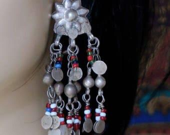 OLD KUCHI EARRINGS - Ornate Gauged Tribal Jewelry Dangle Earrings