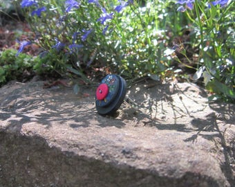 Ring blue-pink buttons - original creation