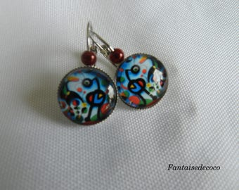 """""""Contemporary"""" glass cabochon Stud Earrings"""