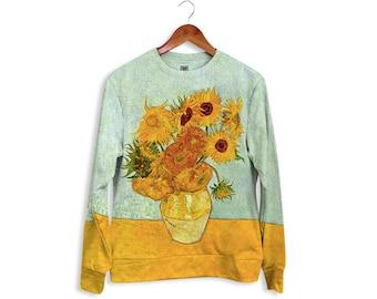 "Unisex Sweatshirt full printed sweatshirt ""Van Gogh Sunflowers"" gift for her gift for him gift ideas"