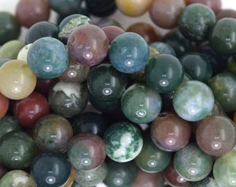 "8mm Indian agate round beads 15.5"" strand 35806"