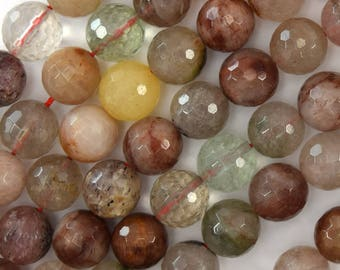 "10mm faceted multicolor rutilated quartz round beads 15.5"" strand 39589"