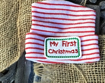 Don't miss this one for Christmas ! Babys boys First Christmas  hospital hats, holiday coming home hat, free gift wrap, striped