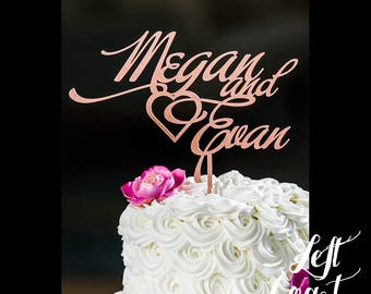 Cake Topper Names with Heart Wedding Custom Made with Real Wood Glitter Personalized Bride and Groom Love Ever After Fast Shipping