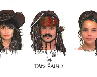 custom family portrait. painting pictured. hand painted illustration. pirate. Deco. wall.