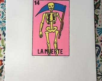 LA MUERTE // Skeleton Screenprint //Mexican La Loteria