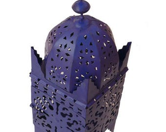 Moroccan lantern from Marrakesh wrought iron hand forged 40 cm, blue