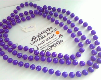 121cm vintage 1980s necklace, plastic necklace, bead necklace, purple necklace, purple beads, vintage necklace, long purple necklace, beads