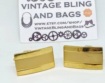 19x8mm Vintage cufflinks, vintage gold tone cufflinks, vintage wedding cufflinks, goldtone bridegroom's cufflinks, gift for a man, menswear